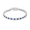 Sapphire Sugar - Diamond white and sapphire blue multiple cubic zirconia silver stainless steel tennis bracelet