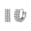 Enchanting Little Hoop Earrings - Silver Plated Brass Earrings with CZ Stones