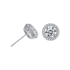 Sparkling Halo Earrings - Silver Plated Brass Stud Earrings with CZ Stones*
