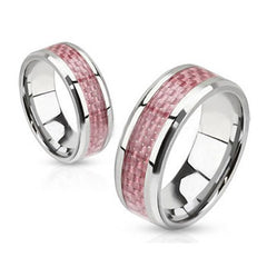 Circle of Pink Ribbon Ring - Pink Carbon Inlay Stainless Steel Breast Cancer Awareness Ring