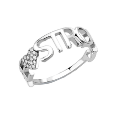 Be Strong - Women's High Polished Stainless Steel Ring with AAA Grade Round CZ Stones
