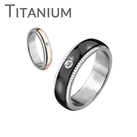 Better Together- Titanium Grooved Step With CZ Clear Crystal Ring