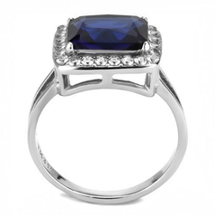 Beverly - Women's High Polished Stainless Steel Ring with 3.79CT. Eq. Blue Center Stone.
