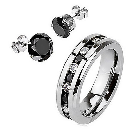 Black Paragon plus Earrings - Embedded Glittering Black and Clear Cubic Zirconias Polished Stainless Steel Ring and Earrings R-10009 plus E-10033-4mm