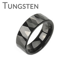 Black Prism - Multi-Faceted Prism Design Black Tungsten Carbide Ring