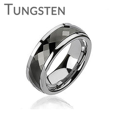 Black Tungsten Spinner - Multi Faceted Silver and Black Tungsten Spinning Center Ring