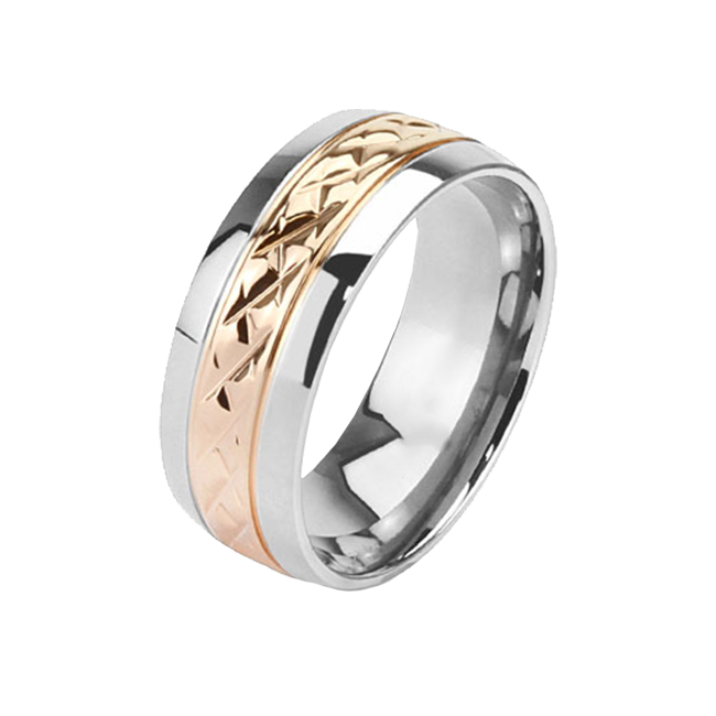 Bliss - Elegant Silver and Rose Gold Comfort Fit Titanium Wedding Ring