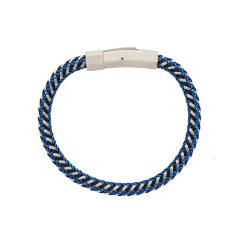 Blue Rubber Soul – Blue black white woven rubber men's bracelet with stainless steel clasp