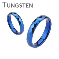 Blue Zephyr - Blue IP Tungsten faceted wedding band