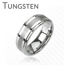 Bolt - Combination of Matte and Glossy Finish Tungsten Carbide Comfort Fit Band