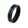 Brave in Blue - Women's 6mm High Polished Black IP Tungsten Ring with Grooved Blue Center