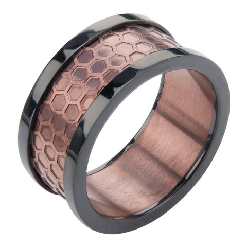 Cappuccino - FINAL SALE Black Die Face Cut Center Stainless Steel Comfort Fit Ring