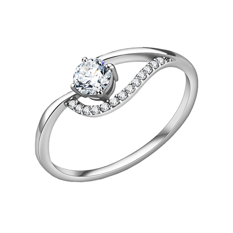 Carol - A Whimsical Women's Stainless Steel Ring with AAA Grade Clear CZ Stones