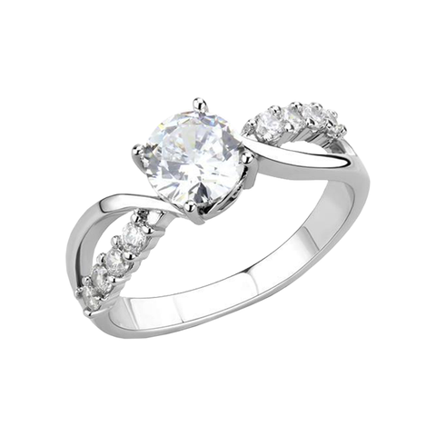 Catherine - A Gorgeous Women's Stainless Steel Ring with AAA Grade Clear CZ Stones