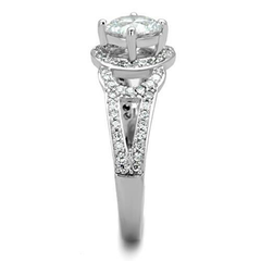 Cecilia -  Women's High Polished Stainless Steel Ring with AAA Grade Clear CZ Stones