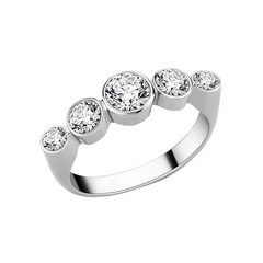 Celeste - Women's High Polished Stainless Steel Ring with Five AAA Grade Clear CZ Stones