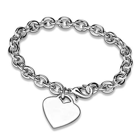 Chained In Love - Silver Plated Heart Charm Bracelet