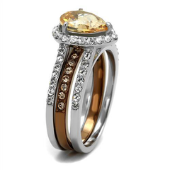 Champagne Sparkle - Women's Two-Tone IP Stainless Steel Wedding Set with AAA Grade Brown CZ Center Stone