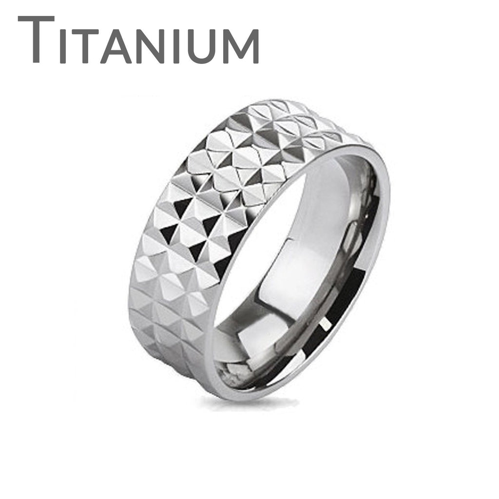 Charismatic - FINAL SALE Edgy Faceted Cuts Titanium Comfort Fit Ring