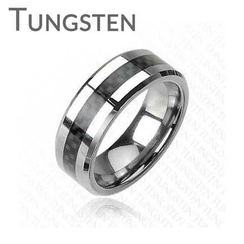Checkered Flag - Comfort Fit Tungsten Carbide Ring with Black Carbon Fiber Center Inlay