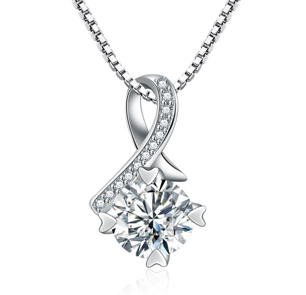 Cherished - A Beautiful Clear CZ Ribbon Pendant Necklace