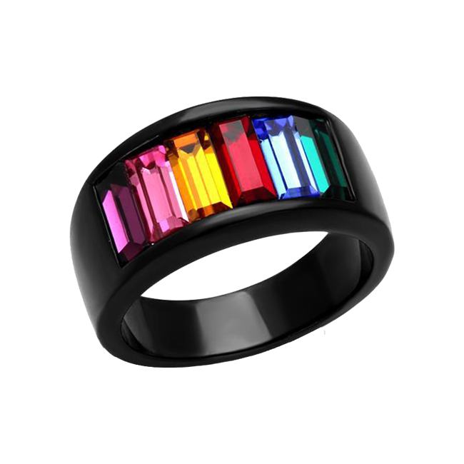 Chroma Noir - Black IP Stainless Steel Ring With Rainbow Hue Stones