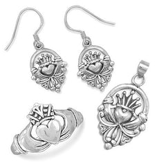 Claddagh Set - Irish Symbol Of Friendship Loyalty and Love Sterling Silver Pendant Ring and Earrings Set E-10008-P-10017-R-10022