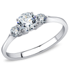Claire - A Simple Women's Stainless Steel Ring with Three AAA Grade Clear CZ Stones