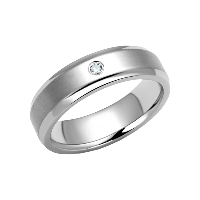 Class Act - Men's High Polished Stainless Steel CZ Ring