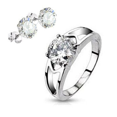Clearly Love plus Earrings - Admiring Love Stainless Steel Engagement Ring With Cubic Zirconia Earrings R-10023  E-10032-4mm