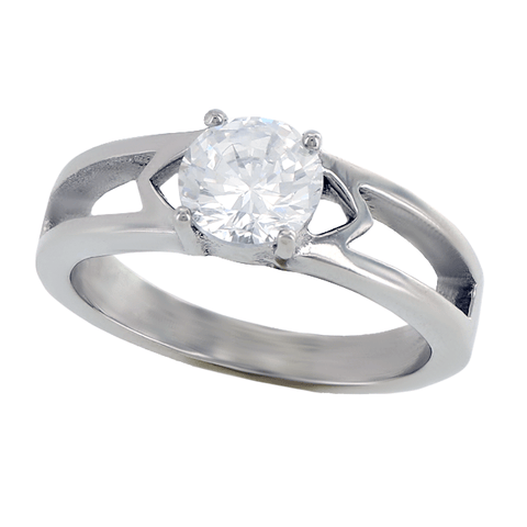 Clearly Love - Admiring Love Stainless Steel Engagement Ring With Cubic Zirconia