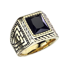Constantine - Men's Gold PVD Stainless Steel Statement Ring with Onyx Stone