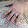 Cool Blue - Classy high shine solid titanium blue carbon fiber center ring