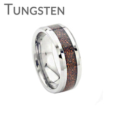 Copper Gold Rush - FINAL SALE Copper goldstone inlay bevelled edge tungsten men's ring
