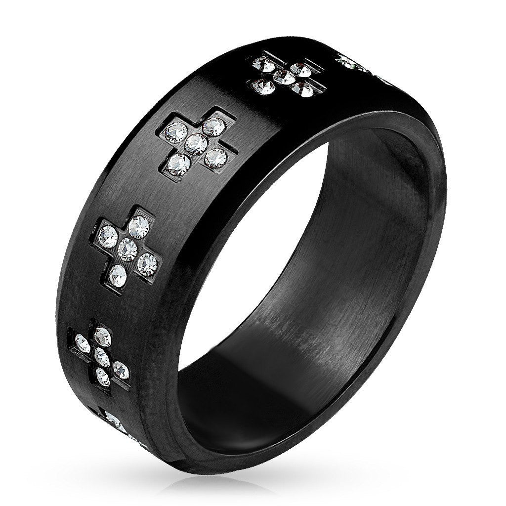 Cross Around - FINAL SALE CZ Crosses Around Black IP Stainless Steel Ring
