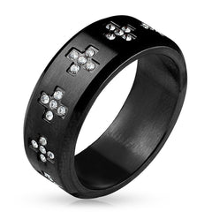 Cross Around - CZ Crosses Around Black IP Stainless Steel Ring