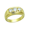 Crush - Triple solitaire cubic zirconia gold IP stainless steel men's ring