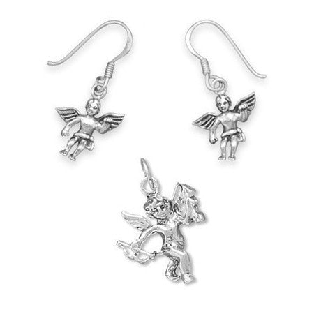 Cupid's Love Set - Charming Set Of  Cupid Oxidized Shimmering Sterling Silver Pendant and Earrings E-10012-P-10023