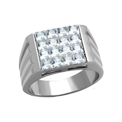 Curtis - Men's Classic High Polished Stainless Steel Statement Ring with AAA Grade CZ Stones