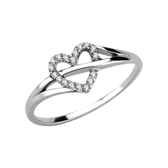 Into You - Women's Stainless Steel High Polished No Plating Clear CZ Heart Ring
