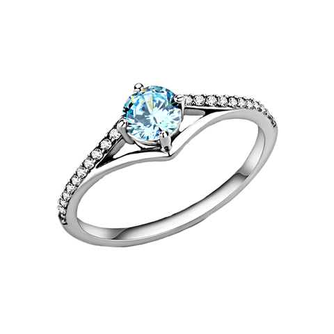 Darya - Women's High Polished Stainless Steel Ring with  AAA Grade Sea Blue CZ Round Stone