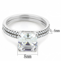 Desire - A Stunning Women's Stainless Steel Asscher CZ Stone Wedding Ring Set