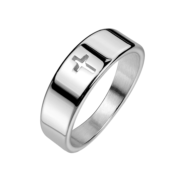 Devoted - Unisex Cross Cut Out Stainless Steel Ring