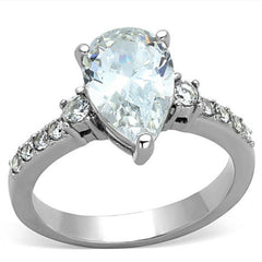 Diana - 3CT EQ. Pear Shaped Center Stone in Stainless Steel with CZ Crystal Band