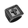 Divine - Men's Stainless Steel Square Faced PVD Black Stainless Steel Statement Ring With CZ Cross