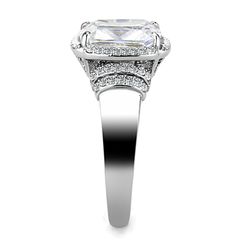 Dolly - Women's High Polished Stainless Steel Ring with 3 CT. Eq. Oblong Clear Stone