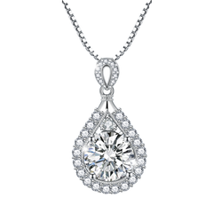 Drop of Sparkle - A Stunning Teardrop CZ Stone Stainless Steel Necklace