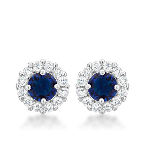Bella Blue Sapphire - Rhodium Plated Earrings with Blue and Clear CZ Stones