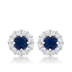 Bella Blue Sapphire - FINAL SALE Rhodium Plated Earrings with Blue and Clear CZ Stones
