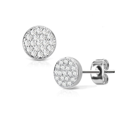 Let It Shine - Women's Stainles Steel Micro CZ Paved Stud Earrings